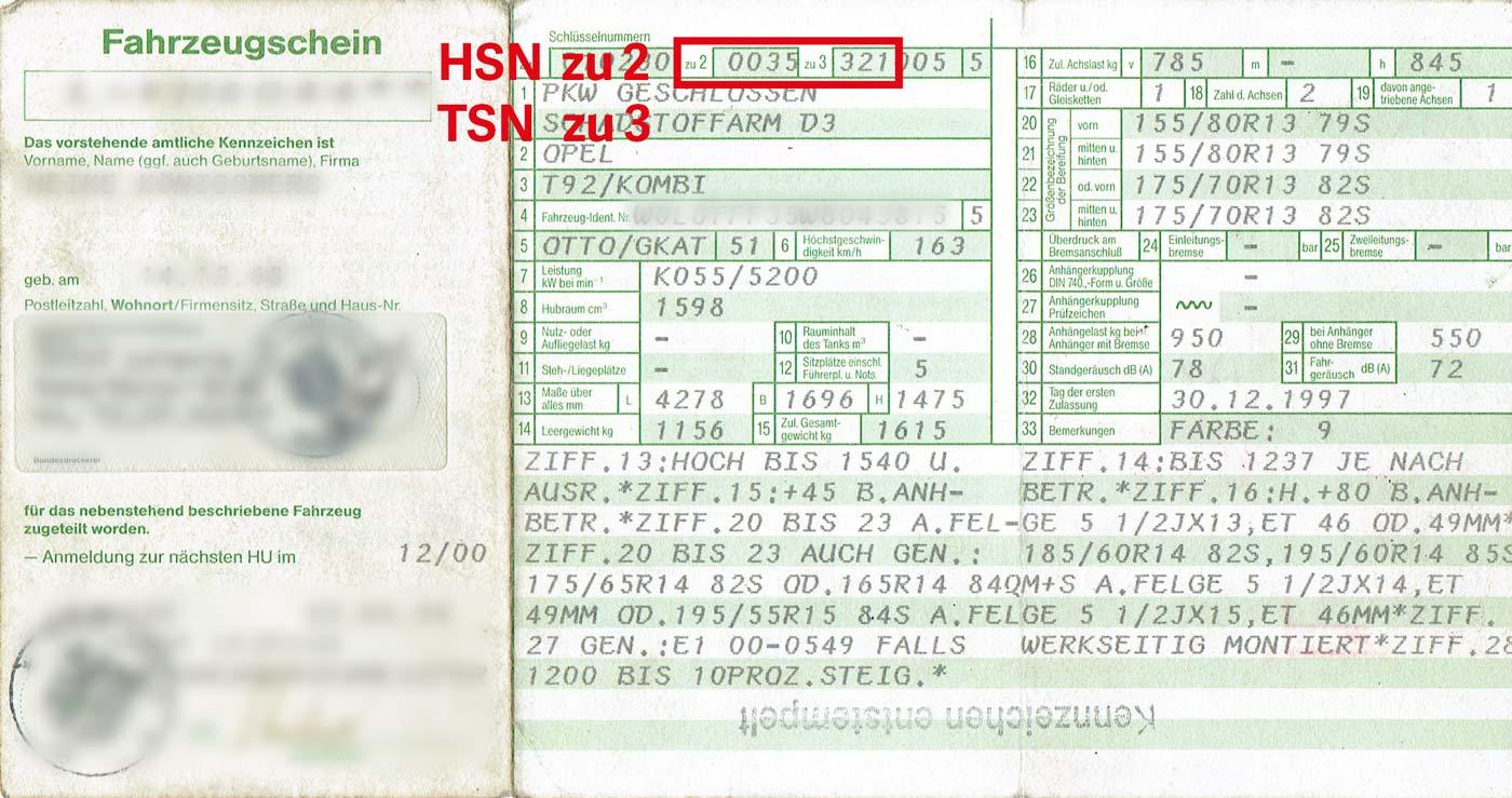 HSN/TSN auf altem Fahrzeugschein