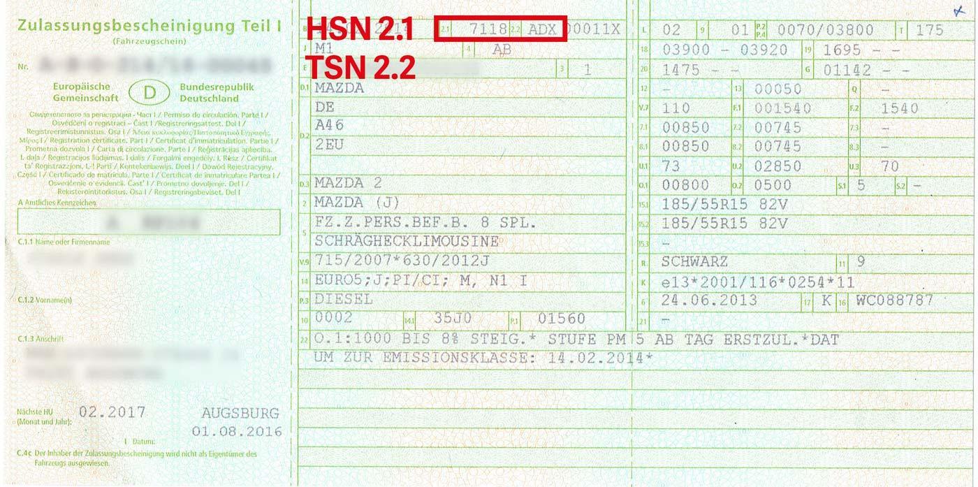 HSN/TSN auf neuem Fahrzeugschein